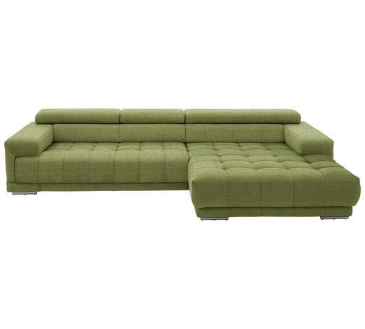 WOHNLANDSCHAFT in Textil Grün - Silberfarben/Grün, Design, Textil/Metall (335/190cm) - Beldomo Style
