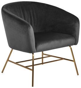 FÅTÖLJ - mörkgrå/guldfärgad, Modern, metall/textil (72/76/67cm) - Ambia Home
