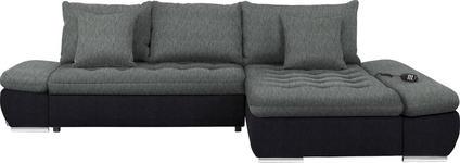 WOHNLANDSCHAFT in Textil Grau, Schwarz - Chromfarben/Schwarz, Design, Textil/Metall (309/200cm) - Hom`in