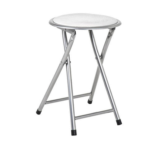 KLAPPHOCKER Lederlook Weiß, Alufarben  - Alufarben/Weiß, Design, Textil/Metall (30/45/30cm) - Carryhome