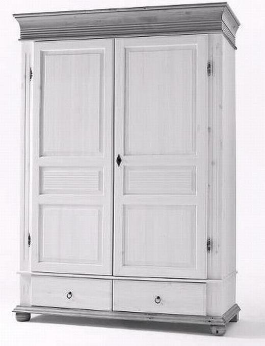 SCHRANK Kiefer massiv gebeizt Weiß - Weiß, LIFESTYLE, Holz/Metall (139/200/63cm)