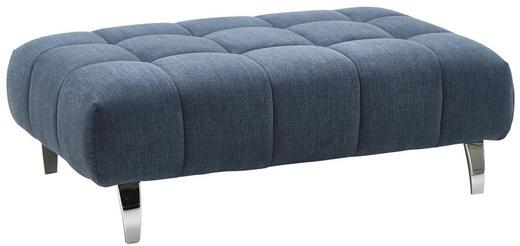 HOCKER Mikrofaser Blau - Blau/Chromfarben, Design, Textil (126/43/76cm) - Beldomo Style