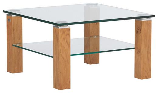 COUCHTISCH Eiche furniert quadratisch Eichefarben - Eichefarben, Design, Glas/Holz (75/75/43cm)