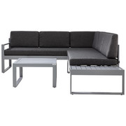 LOUNGEGARNITUR Webstoff Aluminium - Silberfarben/Grau, Design, Textil/Metall (219/192cm) - Ambia Garden