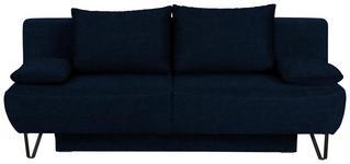 SCHLAFSOFA in Textil Blau  - Blau/Schwarz, MODERN, Textil/Metall (202/90/91cm) - Xora