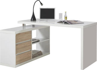 KOTNA PISALNA MIZA leseni material bela, hrast - bela/hrast, Design, leseni material (140 74 115cm) - Voleo
