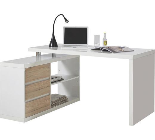 KOTNA PISALNA MIZA leseni material bela, hrast - bela/hrast, Design, leseni material (140/74/115cm) - Voleo