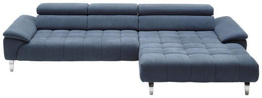 WOHNLANDSCHAFT Blau Mikrofaser - Blau/Chromfarben, Design, Textil (329/190cm) - Beldomo Style