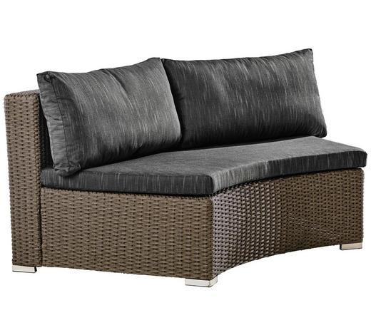 LOUNGEMITTELTEIL Grau, Schwarz Kunststoffgeflecht Aluminium  - Schwarz/Grau, Trend, Kunststoff/Textil (166/70/88cm) - Ambia Garden