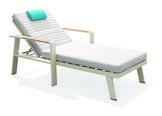 Gartenliege in Blau, Grau, Weiß  - Blau/Weiß, Modern, Holz/Textil (80,5/88/200cm) - Amatio