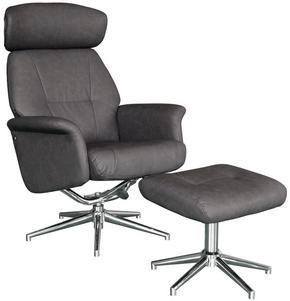 RELAXFÅTÖLJ SET - kromfärg/antracit, Design, metall/textil (75/109-96/77-109cm) - Xora