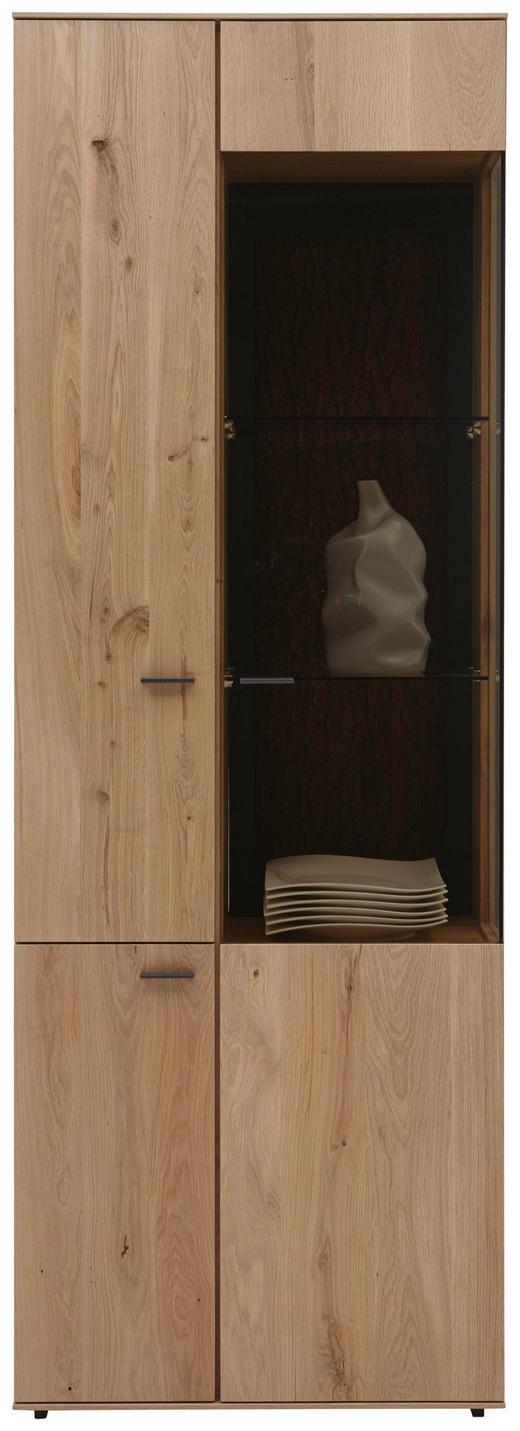 VITRINE Kerneiche vollmassiv Eichefarben - Eichefarben/Anthrazit, Design, Glas/Holz (72/205/44cm) - Valnatura
