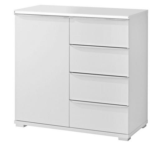 KOMMODE Weiß  - Alufarben/Weiß, Basics, Glas/Kunststoff (80/80/40cm) - Moderano