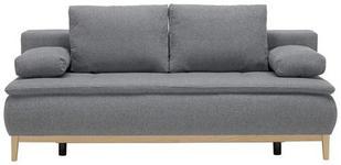 BOXSPRINGSOFA in Textil Blau, Grau  - Blau/Eichefarben, MODERN, Holz/Textil (202/78/93/100cm) - Venda