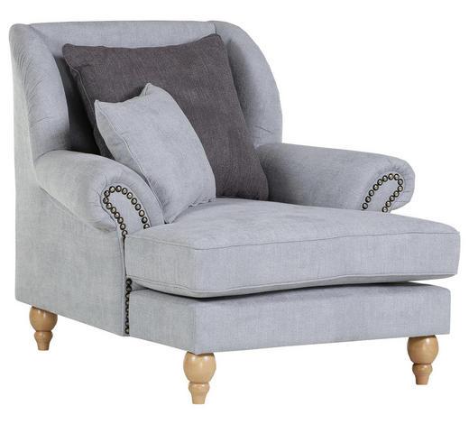 OHRENSESSEL in Textil Hellblau, Dunkelgrau - Eichefarben/Dunkelgrau, Design, Holz/Textil (115/103/128cm) - Carryhome