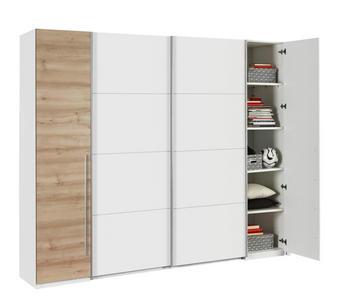 KLEIDERSCHRANK 4  -türig Buchefarben, Weiß - Buchefarben/Alufarben, Design, Holzwerkstoff/Kunststoff (270/225/61cm) - TI`ME