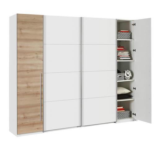 KLEIDERSCHRANK 4-türig Buchefarben, Weiß - Buchefarben/Alufarben, Design, Holzwerkstoff/Kunststoff (270/225/61cm) - Ti`me