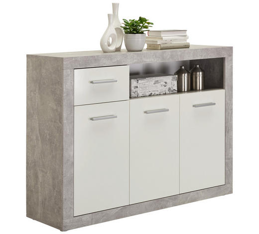 KOMODA - bílá/šedá, Design, kompozitní dřevo/umělá hmota (117/88/37cm) - Carryhome