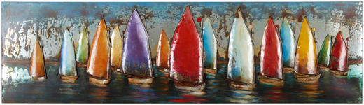 Wasser METALLBILD - Multicolor/Braun, LIFESTYLE, Metall (55/180cm)