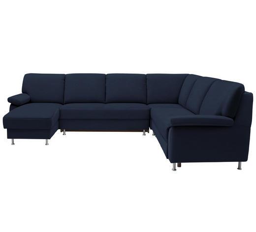 WOHNLANDSCHAFT in Textil Blau  - Blau, KONVENTIONELL, Textil/Metall (155/313/250cm) - Ada Austria