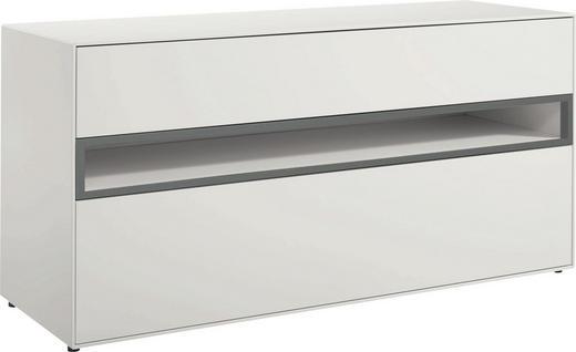 LOWBOARD lackiert Hellgrau, Weiß - Hellgrau/Schwarz, Design (128/64/44,8cm) - Hülsta - Now