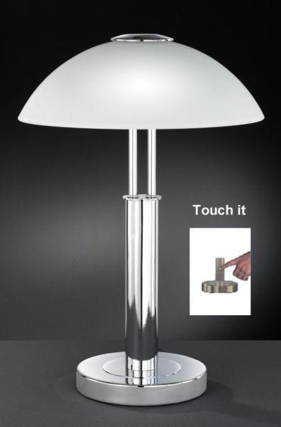 TISCHLEUCHTE - Chromfarben, KONVENTIONELL, Metall (42cm)