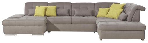 WOHNLANDSCHAFT in Textil Grau - Chromfarben/Grau, Design, Textil/Metall (200/402/273cm) - Xora