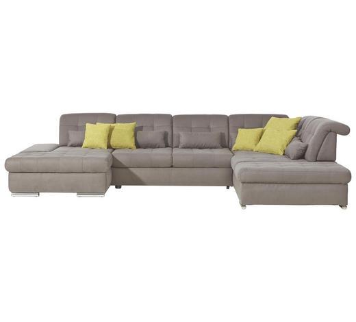 WOHNLANDSCHAFT Grau - Chromfarben/Grau, Design, Textil/Metall (200/402/273cm) - Xora