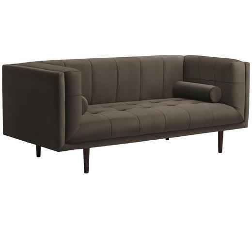 SOFA in Textil Taupe - Taupe/Dunkelbraun, Design, Holz/Textil (200/80/87cm) - Carryhome
