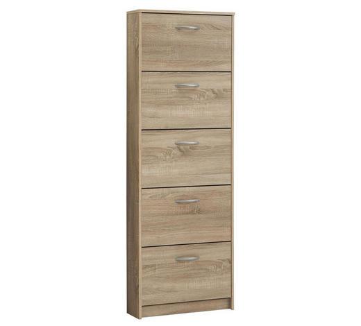 ORMARIĆ ZA OBUĆU - boje hrasta/boje srebra, Design, drvni materijal/plastika (58,5/168,5/17cm) - Boxxx