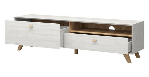 LOWBOARD melaminharzbeschichtet Weiß - Eichefarben/Weiß, Design, Holz (187/50/45cm) - Linea Natura