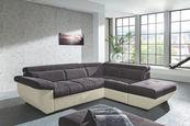 SEDEŽNA GARNITURA,  krem, siva tekstil  - črna/siva, Design, umetna masa/tekstil (262/79-95/224cm) - Welnova