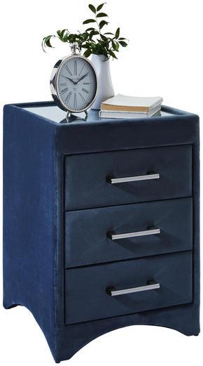 SÄNGBORD - kromfärg/blå, Trend, metall/glas (45/63/45cm) - Esposa