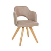 STOL, les, tekstil hrast, sivo rjava - sivo rjava/hrast, Design, tekstil/les (53/78/57cm) - Voleo