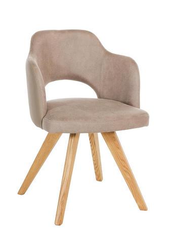 STUHL Lederlook Wildeiche massiv Eichefarben, Taupe - Taupe/Eichefarben, Design, Holz/Textil (53/78/57cm) - Voleo