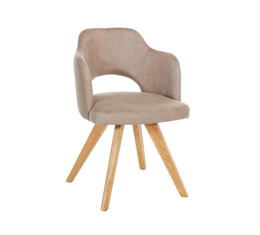 STUHL in Holz, Textil Taupe, Eichefarben - Taupe/Eichefarben, Design, Holz/Textil (53/78/57cm) - Voleo