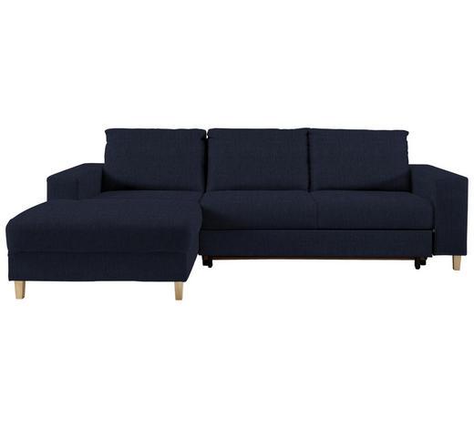 WOHNLANDSCHAFT in Textil Blau - Blau/Buchefarben, Design, Holz/Textil (160/260cm) - Ti`me