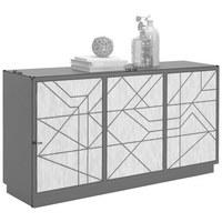SIDEBOARD - Schwarz/Weiß, Trend, Holzwerkstoff (150/80/40cm)