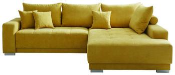 WOHNLANDSCHAFT in Textil Gelb - Gelb/Silberfarben, Design, Holz/Textil (294/195cm) - Cantus