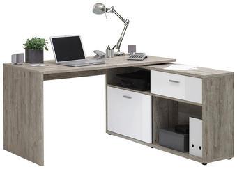 KOTNA PISALNA MIZA leseni material bela, hrast - siva/bela, Design, umetna masa/leseni material (138/75/67,5cm) - Xora