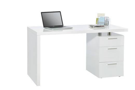 SCHREIBTISCH Weiß - Chromfarben/Weiß, Design, Holzwerkstoff/Kunststoff (140/75/65cm) - Carryhome