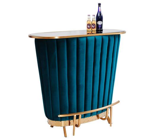BAR in Holz, Metall, Glas, Textil   - Goldfarben/Petrol, LIFESTYLE, Glas/Holz (120/104/48cm)