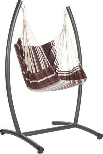HÄNGESESSEL - Hellbraun/Schwarz, Design, Textil/Metall (140/185/108cm) - XORA
