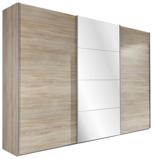 SCHWEBETÜRENSCHRANK 3-türig Eichefarben - Eichefarben/Alufarben, Design, Glas/Holzwerkstoff (270/210/65cm) - Carryhome