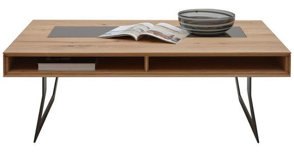 COUCHTISCH in Glas, Holz, Metall 120/75/43 cm - Eichefarben/Anthrazit, Design, Glas/Holz (120/75/43cm) - Valnatura
