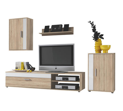 DNEVNI REGAL,  bela, hrast  - črna/bela, Design, umetna masa/leseni material (230/190/40cm) - Boxxx