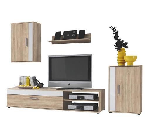REGAL ZA DNEVNI BORAVAK - bijela/boje hrasta, Design, drvni materijal/plastika (230/190/40cm) - Boxxx