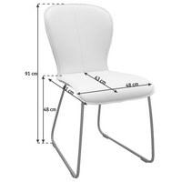 STUHL in Leder, Metall Anthrazit, Beige - Anthrazit/Beige, Design, Leder/Metall (48/91/61cm) - Bert Plantagie