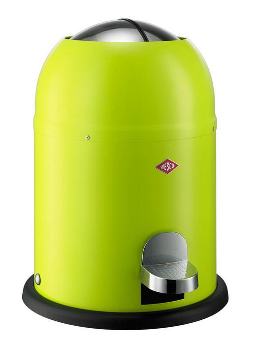 ABFALLSAMMLER SINGLE MASTER 9 L - Edelstahlfarben/Limette, Basics, Kunststoff/Metall (30/40cm) - Wesco