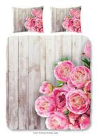 POSTELJNINA WOOD & PEONIES - roza, Konvencionalno, tekstil (200/140cm)